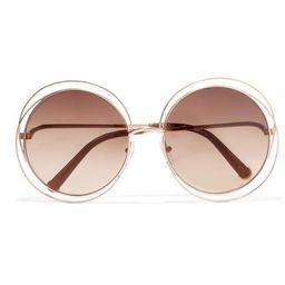 Chloé - Carlina Round-frame Rose Gold-tone Sunglasses - Brown   Net-a-Porter (UK & EU)