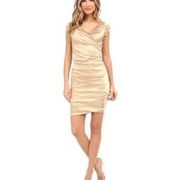 Nicole Miller - Beckette Techno Cap Sleeve Dress (Gold) Women's Dress | 6pm