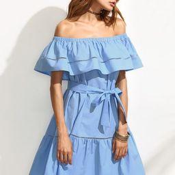 Blue Tie Waist Hollow Insert Ruffle Off The Shoulder Dress | SHEIN