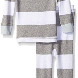 Burt's Bees Baby Baby Organic Rugby Stripe 2 Piece Pajama, Sky, 3-6 Months | Amazon (US)