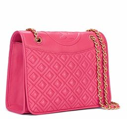 Tory Burch Leather Handbag Fleming Medium Bag Chain in Dark Peony | Amazon (US)