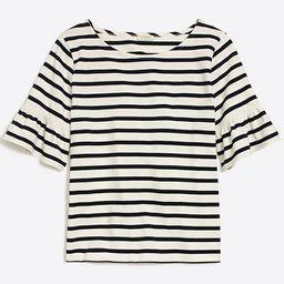 Striped ruffle-sleeve T-shirt   J.Crew Factory