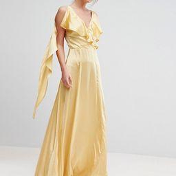 True Violet Ruffle Neck Satin Maxi Dress | ASOS UK