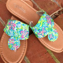 Hand painted sandals inspired by Lilly Pulitzer Coco ut Jungle | Etsy (US)