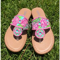 Hand painted sandals inspired by the look of Jack Rogers and the design of Lilly Pulitzer. | Etsy (US)