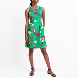 Printed pleated shift dress   J.Crew Factory