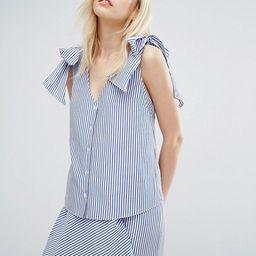 J.O.A V-Neck Blouse With Tie Shoulders In Fine Stripe   ASOS US