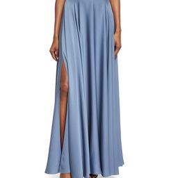 Milly Silk A-line Maxi Skirt, Denim   Bergdorf Goodman