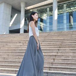 High Waist Maxi Skirt Chiffon Silk Skirts Beautiful Bow Tie Elastic Waist Summer Skirt Floor Length    Etsy (US)