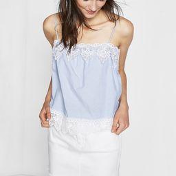 lace trim cotton poplin cami | Express