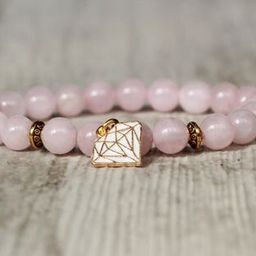 Gold color charm bracelet beaded pink bracelet glamour fashion jewelry diamond charm drop bracelet r | Etsy (US)