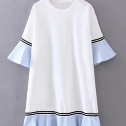Bell Sleeve Contrast Ruffle Hem Dress | SHEIN