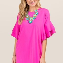Tinsley Ruffle Sleeve Shift Dress | Francesca's Collections