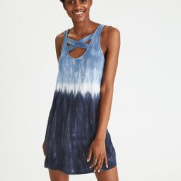 AEO Soft & Sexy Cross-Back Dress, Navy | American Eagle Outfitters (US & CA)