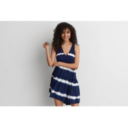AEO Twist Back Halter Dress, Navy | American Eagle Outfitters (US & CA)