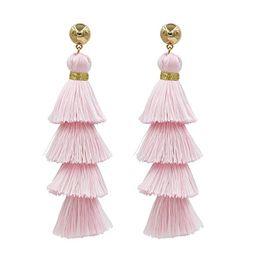 Fashion Jewelry 14k Gold/Tassels/Charming Pendants/Gems Drop Earrings (NewTassel-Pink) | Amazon (US)