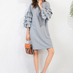 Tiered Bell Sleeve Drop Shoulder Heathered Knit Tee Dress   SHEIN