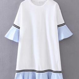 Bell Sleeve Contrast Ruffle Hem Dress   SHEIN