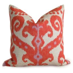 Pair of 2 Ikat Designer Pillow Covers - Linen - Orange Red Coral - 18 inch - Ikat Pillow - Decorativ   Etsy (US)