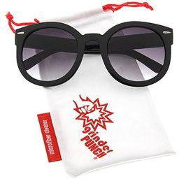 grinderPUNCH Women's Designer Inspired Mod Fashion Oversized Shaped Round Circle Sunglasses Black | Amazon (US)