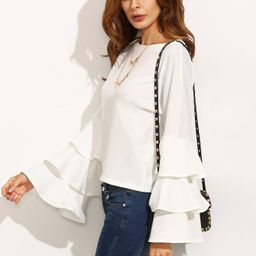Frill Tiered Fluted Sleeve Top | SHEIN
