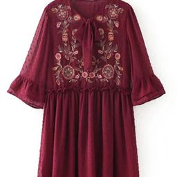 Embroidered Flower Textured Dot Smock Dress | SHEIN
