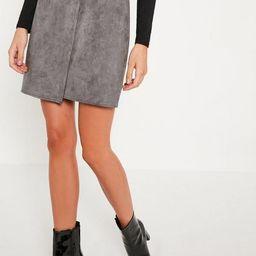 Grey Faux Suede Asymmetric Wrap Mini Skirt | Missguided (US & CA)