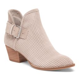 Perforated Suede Stacked Heel Bootie | TJ Maxx