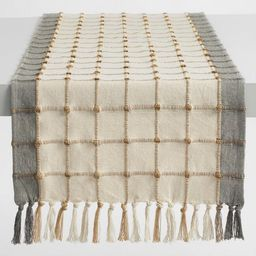 Ivory and Gray Windowpane Table Runner   World Market