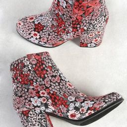 Floral Embroidered Zip Up Ankle Boot BLACK | SHEIN