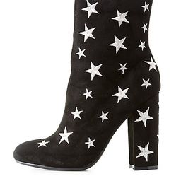 Star Embroidered Ankle Booties | Charlotte Russe