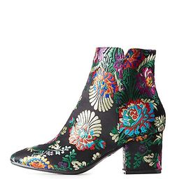 Bamboo Floral Brocade Ankle Booties | Charlotte Russe