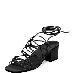 Chloe Knotted Leather Low-Heel Gladiator Sandal, Black   Bergdorf Goodman