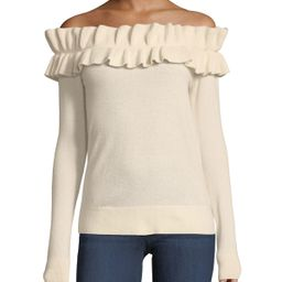Perrinney Off-the-Shoulder Cashmere Pullover Sweater | Neiman Marcus